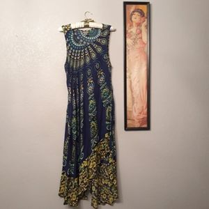 Uniti Casuals Asymmetrical medallion print dress
